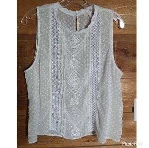 GB White Lace Sleeveless Top Size XL
